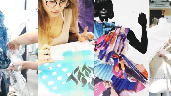 Teenage students working on various fashion projects including illustration, draping and collage.