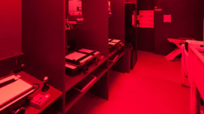 A room filled with red lighting