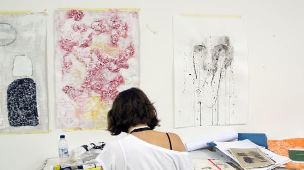 Student creating work for her portfolio