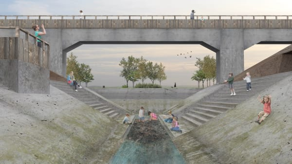 Architectural illustration of a bridge and stream with people walking through and playing in the stream