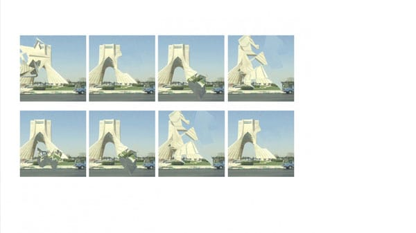 Eight glitched images of Azadi Square in Tehran