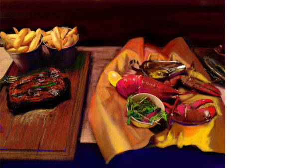 A painting of a plate of lobster and chips