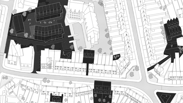 Bird's eye view drawing of city graphic in black and white