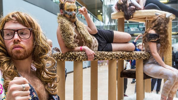 A group of people dressed up as cats sat on a giant cat tree