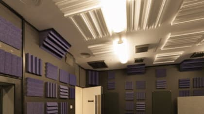 A soundproof room filled with audio devices