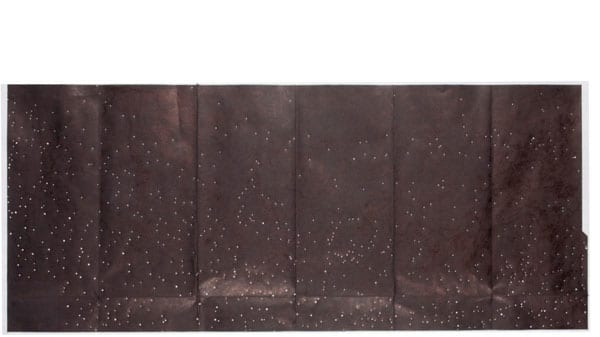 Six black panels with constellations on them