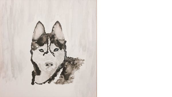A painting of a husky