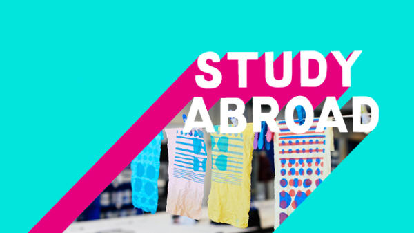 A UAL Study Abroad logo on a turquoise background