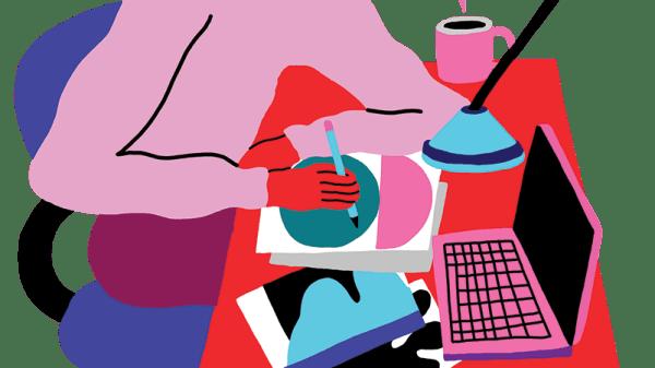 Illustration of student working