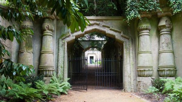 The entrance to a mausoleum