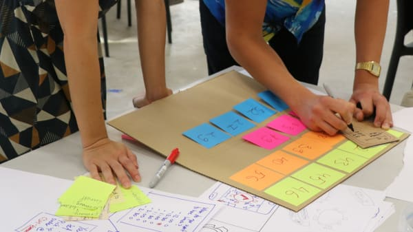 Students writing on post-it notes