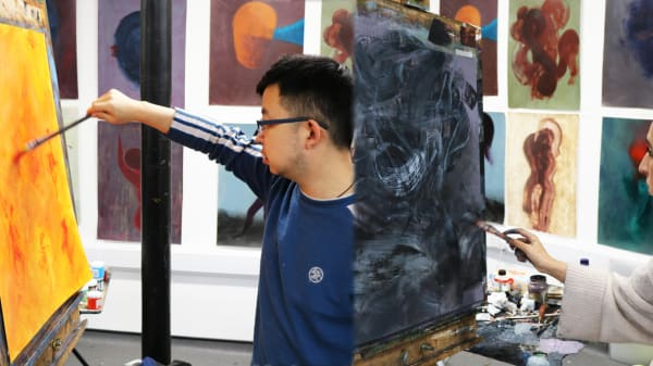 Expressive Painting students in studio