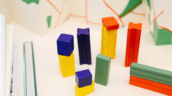 Colourful blocks on a white background