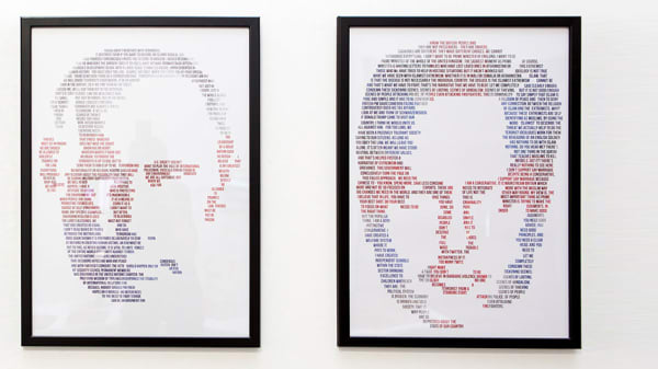 Image showing an illustration of two politicians faces made up of words in a frame