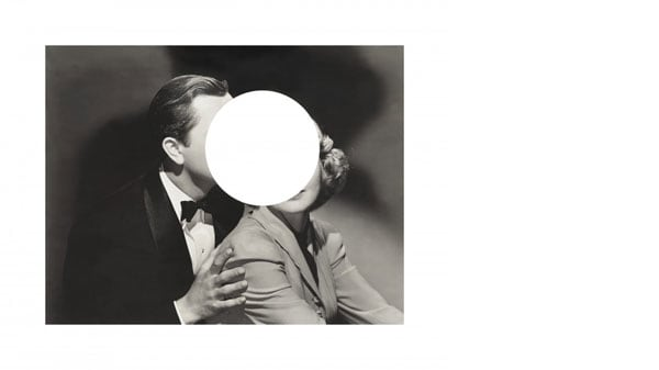 A collage with a circle cut out of the middle of two people's faces