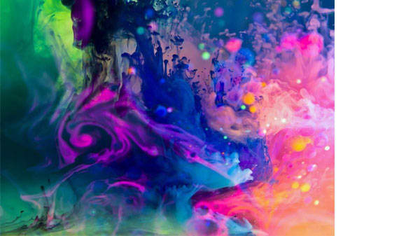 A blue, pink and purple swirling abstract image