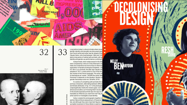 A collage of different works from print to illustration and photography
