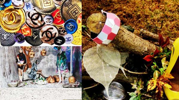 3 collage images, one depicting a circus, another with models in a galaxy window display and the third a collection of buttons. The fourth photograph is of a bangle displayed on the end of a log, propped next to yellow shoes in a forest setting.