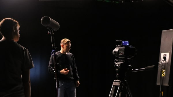 Students in television studio