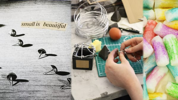 """Creating Your Creativity student work and collage - picture of a pin with """"small is beautiful"""" newspaper print above."""