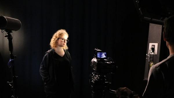 Students in TV studio
