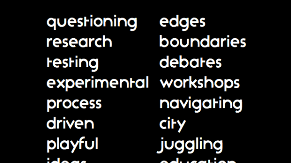 Typography consisting of a series of words describing what graphic design.