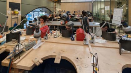 People working in the Jewellery Workshop at Central Saint Martins