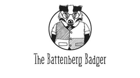 An illustrated badger in a circle, The Batternberg Badger is written underneath