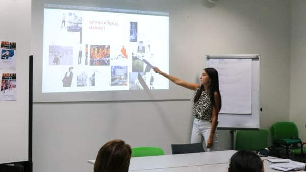 Student presenting work to class