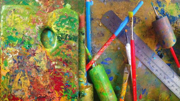 Oil paint on tools