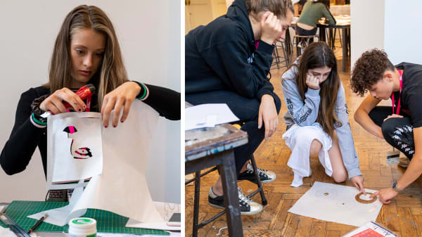 Students at work during Fashion Design and Making Residential course