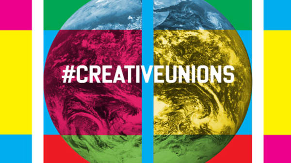 Image of the earth with #creativeunions printed across it and bright coloured squares alongside