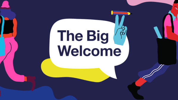 Colorful illustration with speech bubble in the centre that reads The Big Welcome. Illustration of a hand making a peace sign while twirling a pencil sits next to the bubble.