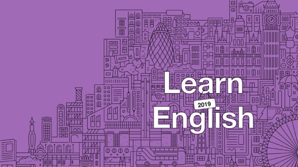 UAL Language Centre Learn English 2019 London skyline in purple designed by Boyle and Perks and The City Works