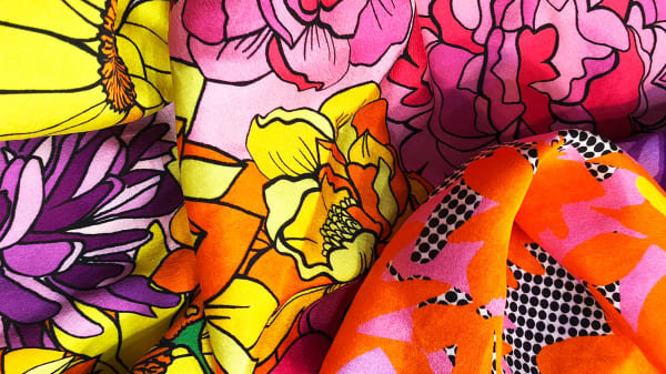 Collection of bright floral fabric