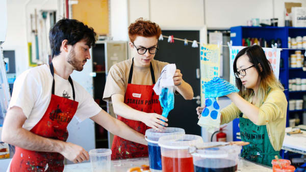 London College of Communication screen printing students