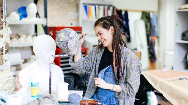 Student sculpting in LCF studio