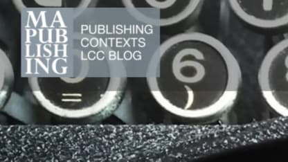 Close-up of a typewriter with MA Publishing blog logo over the top.