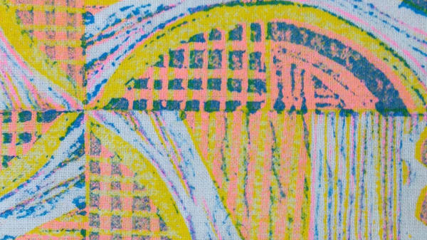 Lines, squares and curved block print, yellows, pinks and dark blues on a light blue background.