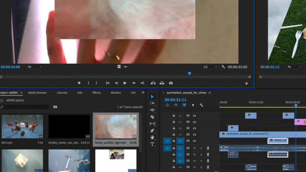 Editing screen of Adobe Premiere with video screens and timelines.