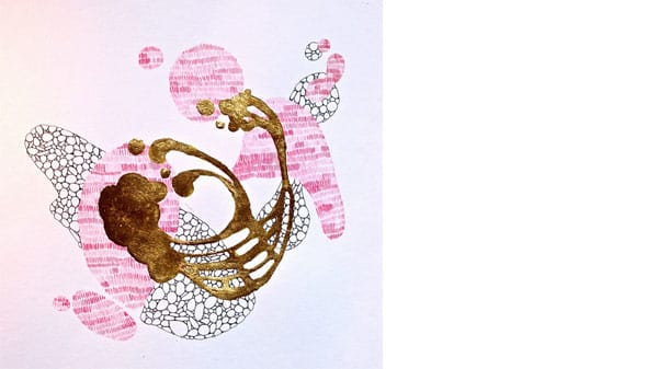 An abstract pink gold and black drawing on white paper