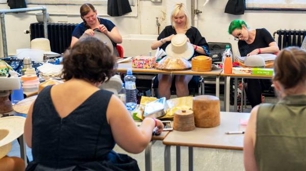 Millinery Open Studio - Students working on hats in studio