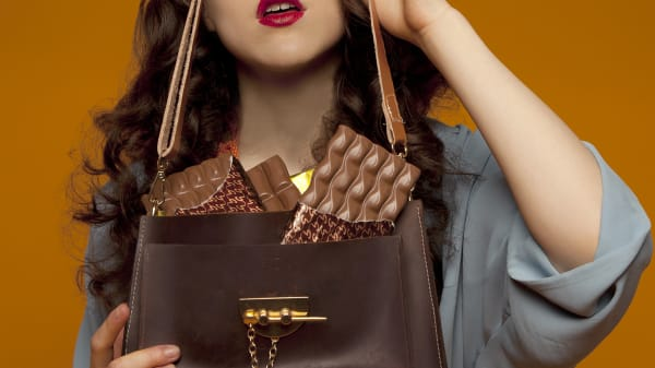 Model holding brown bag