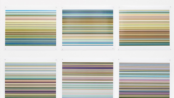 Six pictures of multicoloured lines