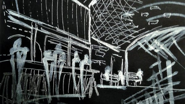 A sketch in white on black paper of an indoor space featuring figures at an eating area.