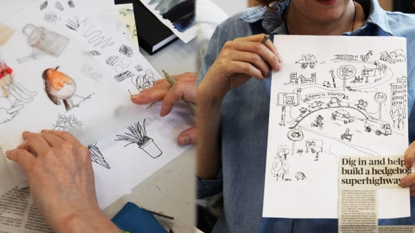 """Three photographs (left to right): Student sitting at computer, editing work / Illustrations on paper (including a robin, dog and plants) / Student holding up paper depicting an illustrated street scene along with a news headline, """"Dig ion and help"""