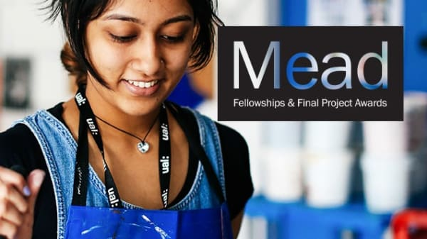 UAL student working with logo overlaid