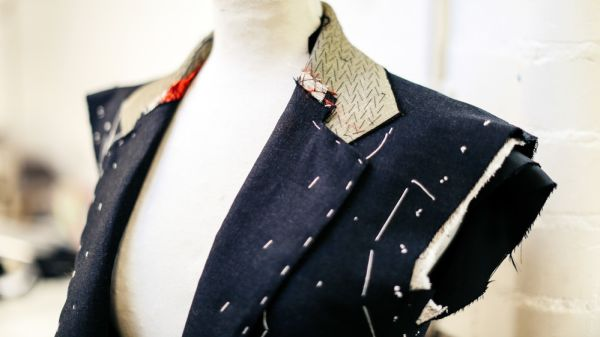 A partially made suit jacket