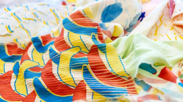 Fabric with a variety of colourful prints