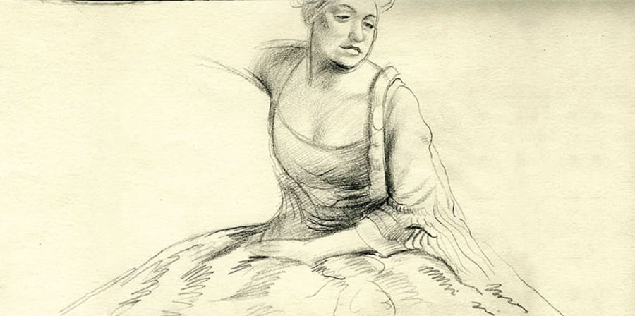 a charcoal sketch of a woman in a dress